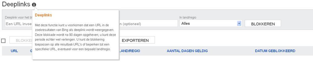Sitelinks degarderen in Bing Webmaster Tools