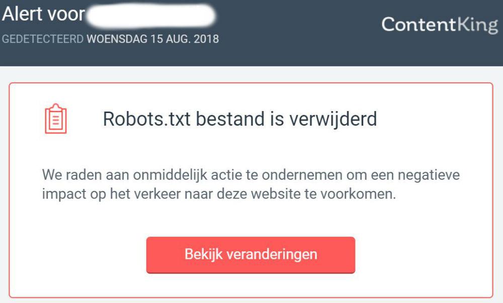 robots.txt bestand verwijderd - ContentKing