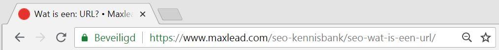 URL in de chrome browser