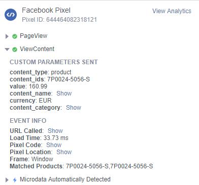 Facebook custom parameters in pixel