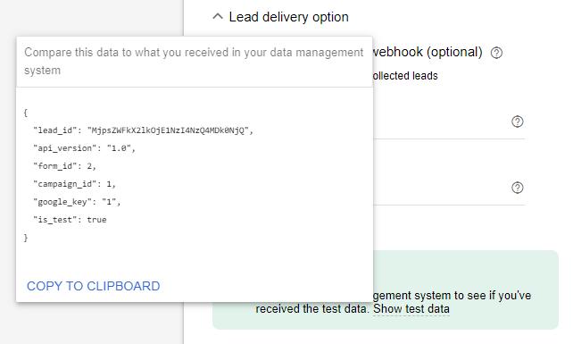 Screenshot met data die Google Ads naar je Google Sheets spreadsheet gaat sturen.
